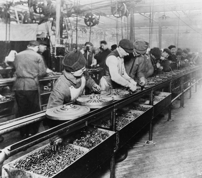 A 1913 Ford assembly line.