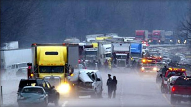 Aftermath of the 200-vehicle pile-up in Ingham County, Jan. 12, 2005.