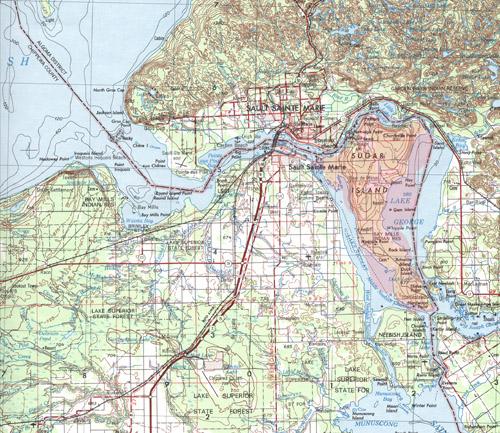 Sugar Island, off the cost of the Upper Peninsula near Sault Ste. Marie.