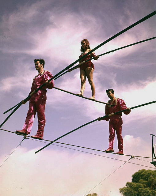 Members of the Flying Wallenda troupe practice in Sarasota, Fla., in the 1960s.